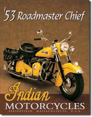 INDIAN MOTORCYCLES 1953 TIN SIGN