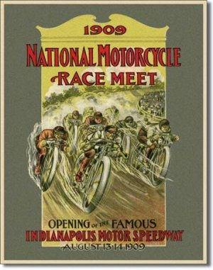 1909 MOTORCYCLE RACE MEET TIN SIGN