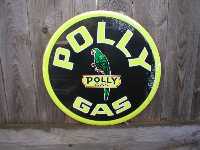 "POLLY GAS 24"" TIN SIGN"