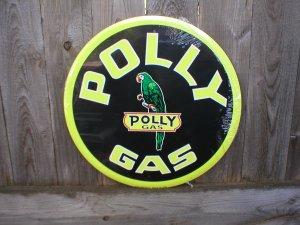 """POLLY GAS 24"""" TIN SIGN"""