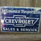 CHEVROLET SALES & SERVICE TIN SIGN