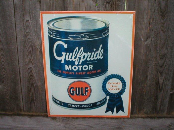 GULFPRIDE MOTOR OIL TIN SIGN