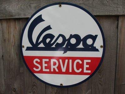 VESPA SERVICE PORCELAIN COAT SIGN