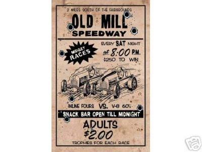 OLD MILL SPEEDWAY MIDGET RACING SIGN