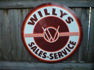 WILLYS SALES SERVICE RETRO TIN METAL SIGN