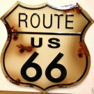 US ROUTE 66 TIN METAL SIGN BULLET HOLES