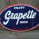 GRAPETTE SODA PORCELAIN-COATED OVAL SIGN