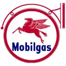 MOBILGAS DOUBLE SIDED HANGING METAL SIGN