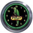 POLLY GAS GREEN NEON CLOCK