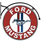 MUSTANG DOUBLE SIDED HANGING METAL SIGN