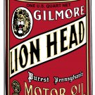 GILMORE LION HEAD OIL CAN SIGN