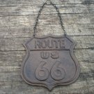 ROUTE 66 HANGING SIGN CAST IRON RUSTIC
