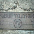 PUBLIC TELEPHONE SIGN  CAST IRON RUSTIC