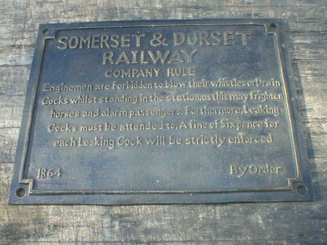 SOMERSET & DORSET COMPANY RULES SIGN CAST IRON
