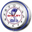 "COBRA SHELBY DOUBLE NEON CLOCK 17""  5"
