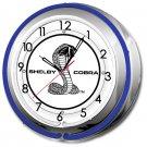 "SHELBY COBRA DOUBLE NEON CLOCK 17"""