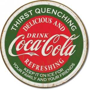 DRINK COCA-COLA ROUND TIN SIGN