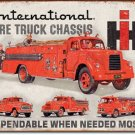 INTERNATIONAL FIRE TRUCK CHASSIS TIN SIGN