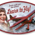 LEARN TO FLY HEAVY METAL OVAL SIGN