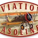 AVIATION GASOLINE HEAVY METAL OVAL SIGN