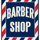 BARBER SHOP HEAVY METAL SIGN RED WHITE BLUE