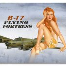 B-17 Flying Fortress HEAVY METAL SIGN Pin Up Girl