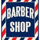 BARBER SHOP HEAVY METAL SIGN RED WHITE BLUE LARGE