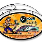 8 Hour Paint & Body OVAL SHAPE METAL SIGN w/HANGER