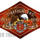 Firefighters America's Bravest Metal Sign Diamond Shaped