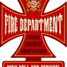 Fire Dept Cross Shaped heavy metal sign