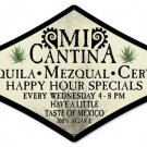 Mi Cantina mexican bar diamond shaped metal sign