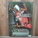 JEFF FOXWORTHY DEER IN BATHROOM TIN SIGN