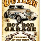 OUTLAW HOT ROD GARAGE Heavy Metal Sign