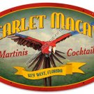SCARLET MACAW MARTINIS COCKTAILS Heavy Oval Metal Sign