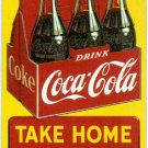 TAKE HOME A CARTON COCA-COLA EMBOSSED METAL TIN SIGN