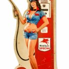 GAS PUMP GIRL CUSTOM METAL SHAPE SIGN