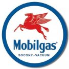 MOBILGAS ROUND METAL SIGN