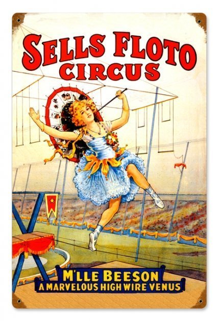 SELLS FLOTO CIRCUS HIGH WIRE ACT METAL SIGN