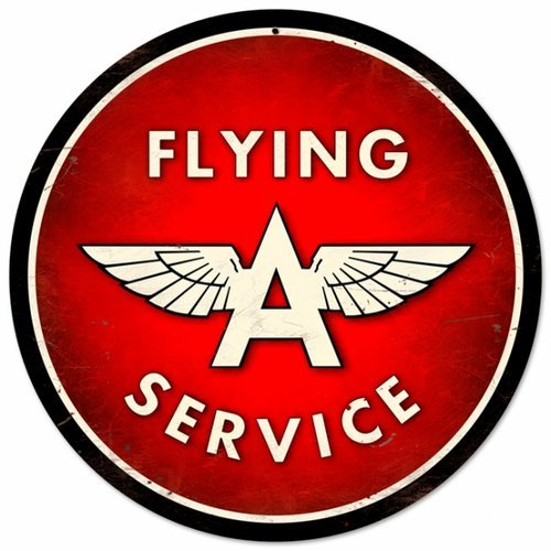 """FLYING A SERVICE METAL SIGN 28"""" DIAMETER"""