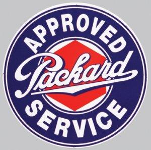 "APPROVED PACKARD SERVICE HEAVY STEEL BAKED ENAMEL SIGN 25.5"""