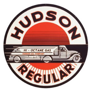 HUDSON REGULAR HEAVY STEEL BAKED ENAMEL SIGN 25.5""