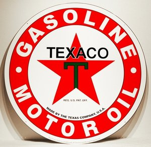 TEXACO MOTOR OIL HEAVY METAL SIGN 30""