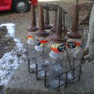Standard Oil Company Six Glass Oil Bottles & Carrier Vintage Look