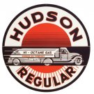 HUDSON REGULAR GAS ROUND METAL SIGN 14""