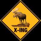 MOOSE X-ING EMBOSSED METAL SIGN