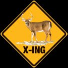 DEER X-ING EMBOSSED METAL SIGN
