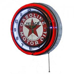 "Texaco Motor Oil Gasoline Double Red Neon Wall Clock 18.75"" Diameter"