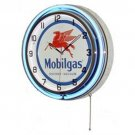 "MOBILGAS GASOLINE DOUBLE NEON WALL CLOCK BLUE 18.75"" DIAMETER R"