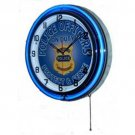 "POLICE OFFICERS DOUBLE NEON WALL CLOCK BLUE 18.75"" DIAMETER R"