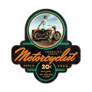 BIKER GIRL MOTORCYCLIST CUSTOM SHAPE METAL SIGN M